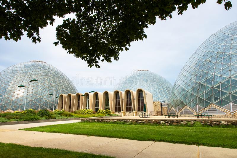 Mitchell Domes, Milwaukee Wisconsin Conservatory. Mitchell Dome, Milwaukee Wisconsin conservatory botanical gardens and park. The United States Midwest is a royalty free stock images
