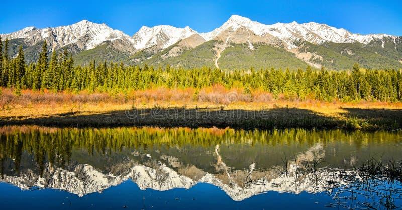 Mitchell Mountain Range in Hondmeer Nationale die Kootenay wordt weerspiegeld stock foto