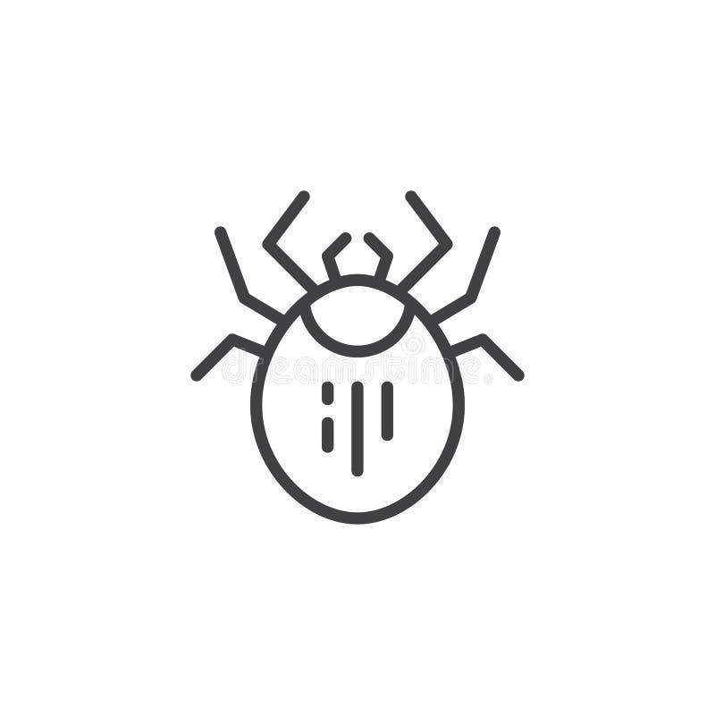 Mite pest line icon vector illustration