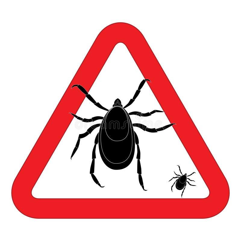 Mite warning sign. Vector illustration of tick warning sign. Bud warning sign. Parasite warning sign. Mite skin parasite si stock illustration