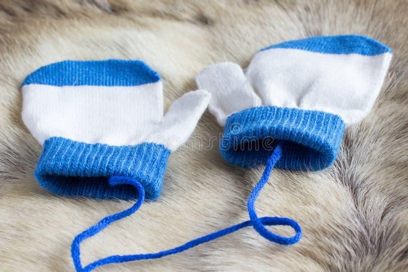 Mitene branco e azul para o bebê na pele dos cervos fotos de stock royalty free