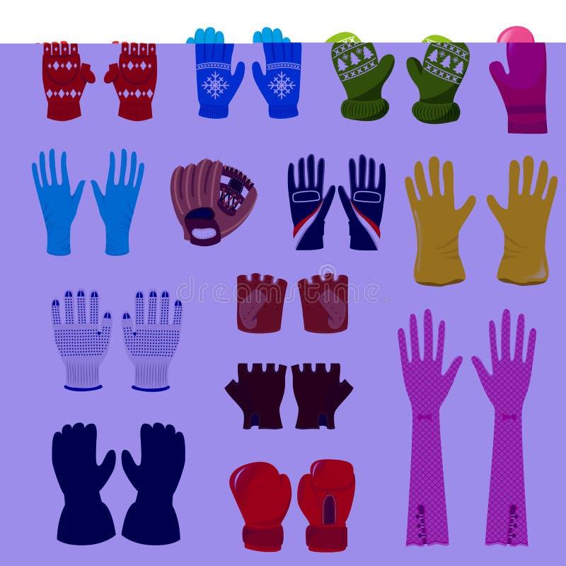 Mitenes de lã do xmas do vetor da luva e pares protetores de grupo da ilustração das luvas de boxxing-luvas ou de luvas feitas ma ilustração do vetor