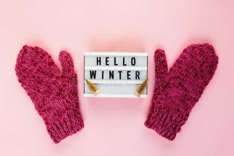 Mitenes mornos, acolhedores do inverno, lightbox na cor pastel no fundo cor-de-rosa Natal, configuração lisa do conceito do ano n imagem de stock royalty free