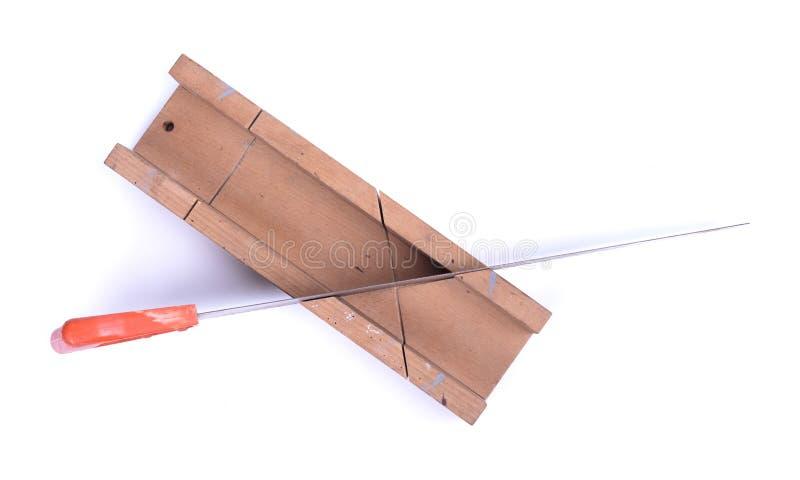 Miter κιβώτιο με ένα πριόνι στοκ φωτογραφία με δικαίωμα ελεύθερης χρήσης