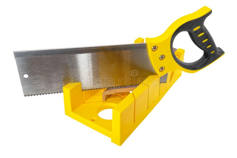 Miter Box with Saw. royalty free stock image