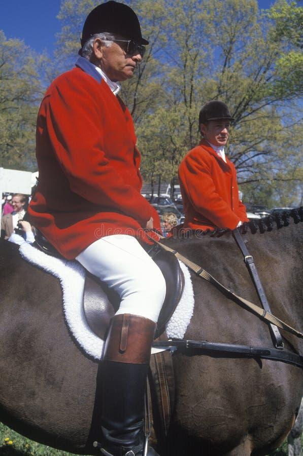 Mitfahrer auf zu Pferde stockfoto