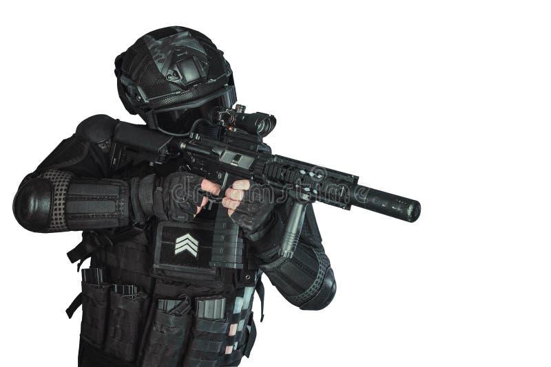 Mitglied des SWAT-Teams stockfotos
