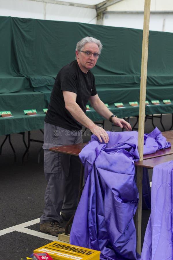 Mitglieder der Nordirland-Bonsai-Gesellschaft, die ihre Ausstellungsstände für das Belfast-Frühlingsfest an Barnett-` s Demesne e stockfotos