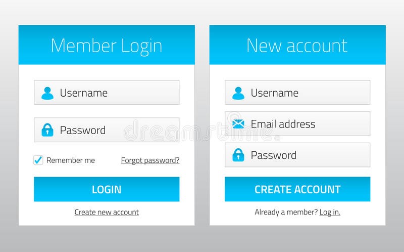 Mitglieder-Login und neue Kontowebsiteformen stock abbildung