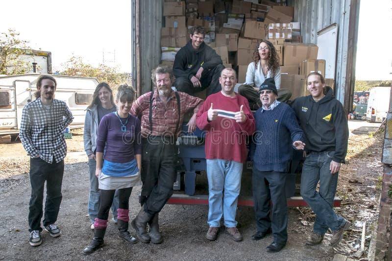 Mitglieder und Freiwillige von BookCycle Großbritannien stockfotografie