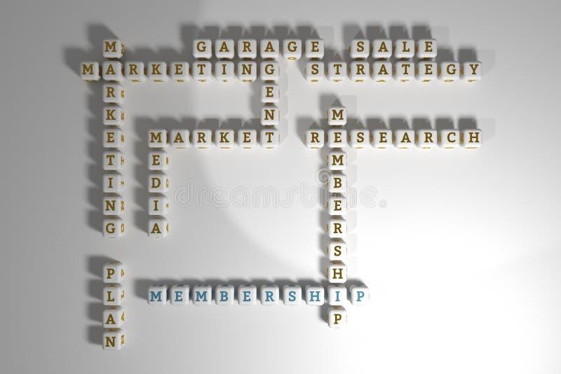 Mitgliedschaft, vermarktendes Schlüsselwortkreuzworträtsel F?r Webseite, Grafikdesign, Beschaffenheit oder Hintergrund Wiedergabe stock abbildung