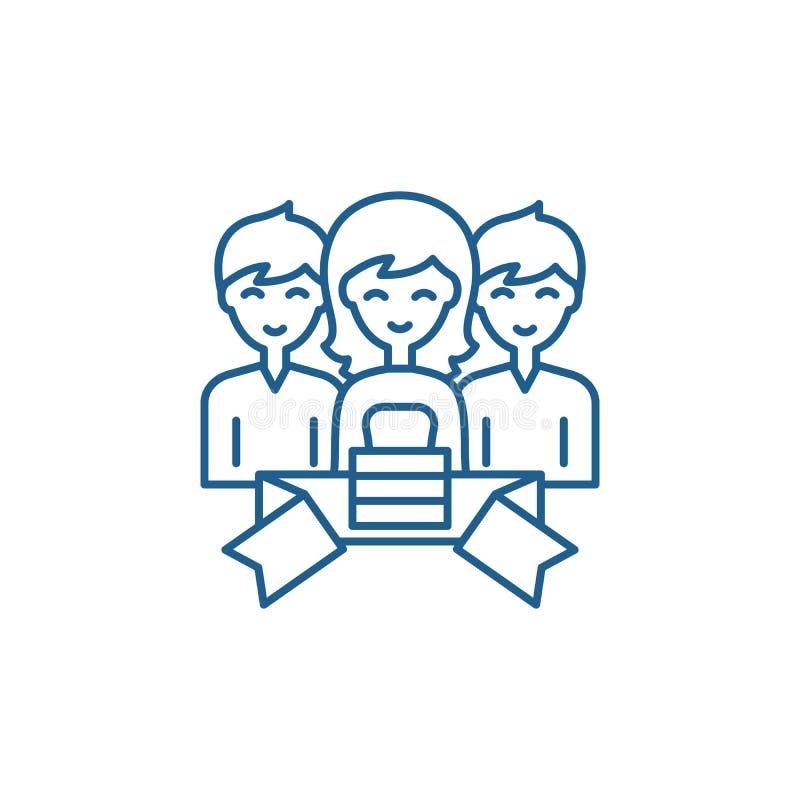 Mitgliedschaftslinie Ikonenkonzept Flaches Vektorsymbol der Mitgliedschaft, Zeichen, Entwurfsillustration lizenzfreie abbildung