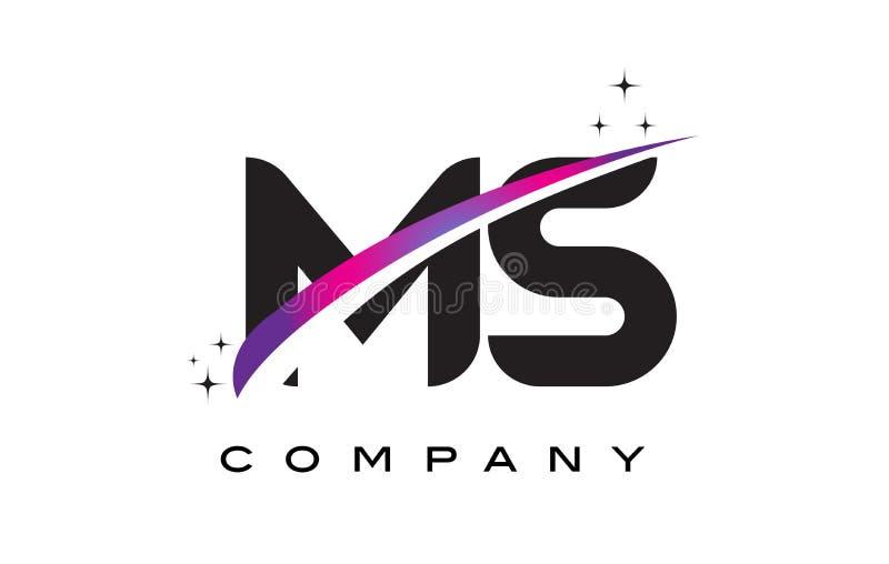 Mitgliedstaat M S Black Letter Logo Design mit purpurrotem magentarotem Swoosh lizenzfreie abbildung