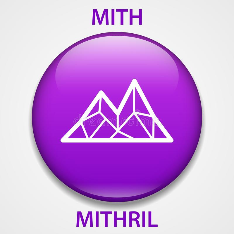 MITHRIL het pictogram van muntstukcryptocurrency blockchain Virtueel elektronisch, Internet-geld of cryptocoin symbool, embleem stock illustratie