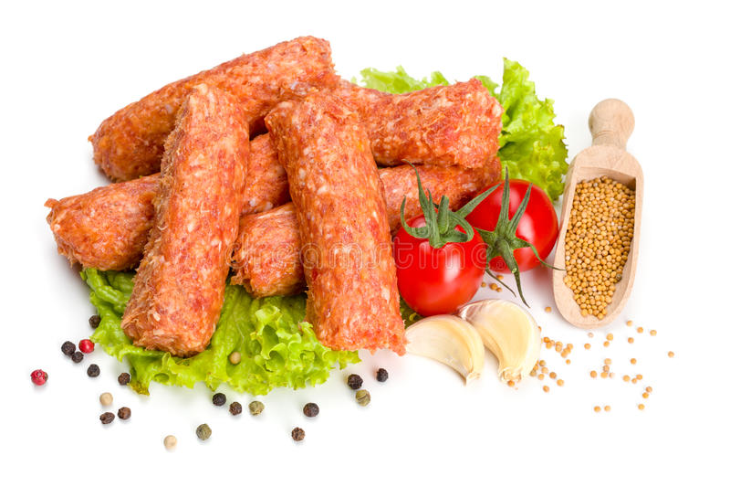 Mititei rumeno tradizionale, rotoli della carne suina fotografia stock libera da diritti