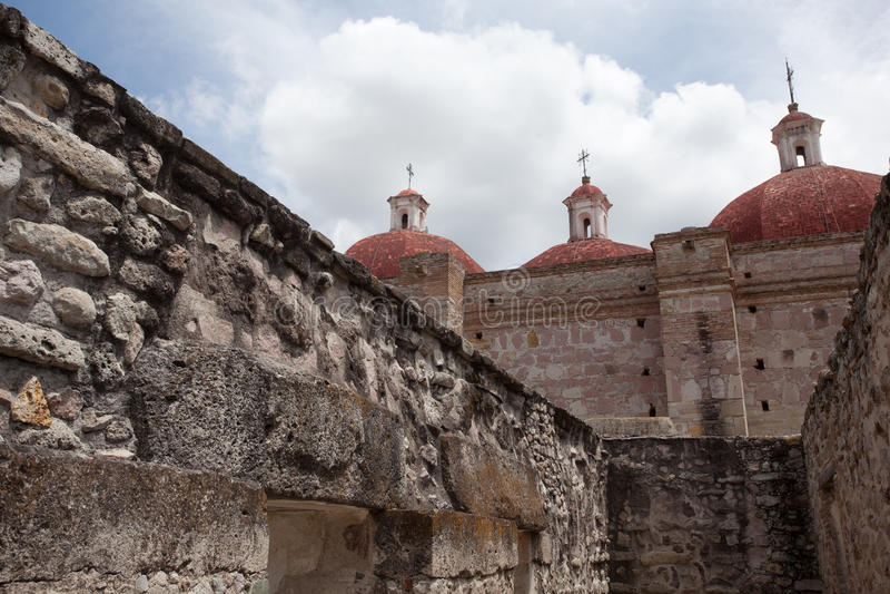 Mitla. Ancient ruins on Mitla located near Oaxaca, Mexico stock photo