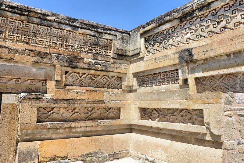 Mitla ruins. Detail at the Ancient Pyramids of Mitla, Oaxaca Mexico stock photo