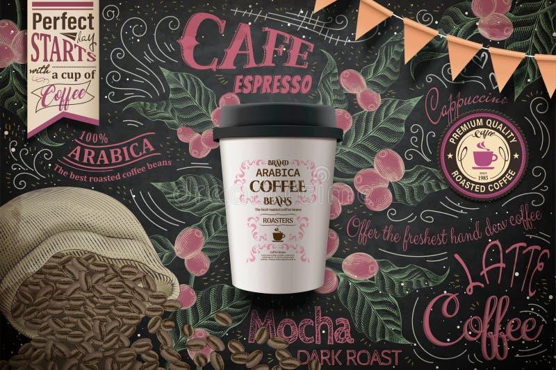 Mitnehmerkaffeeanzeigen lizenzfreie abbildung