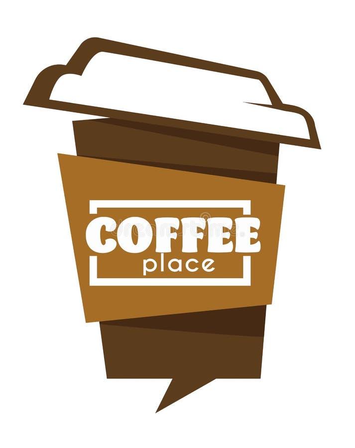 Mitnehmerlokalisiertes Ikonencafé oder -cafeteria der kaffeetasse lizenzfreie abbildung
