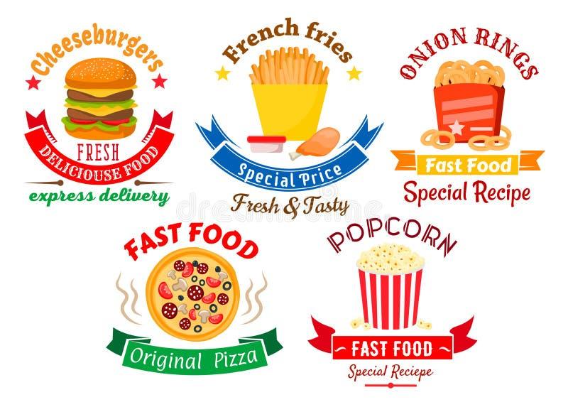 Mitnehmermahlzeitsymbole für Schnellimbissdesign lizenzfreie abbildung