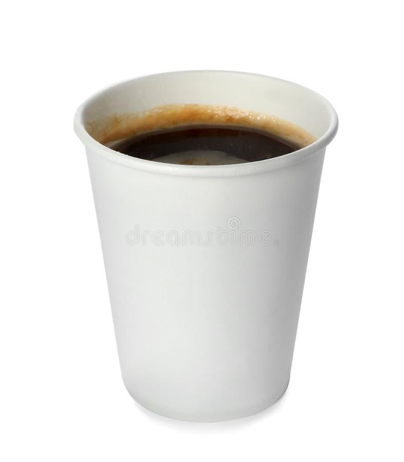 Mitnehmerpapierkaffeetasse lokalisiert stockbild