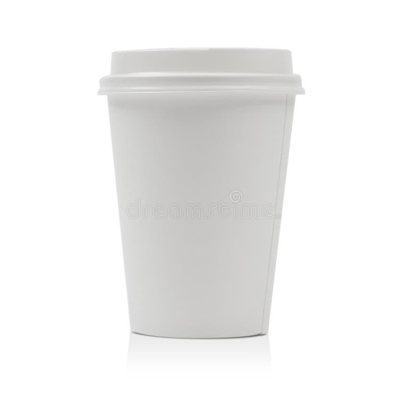 Mitnehmerpapierkaffeetasse lokalisiert auf Weiß stockfotos