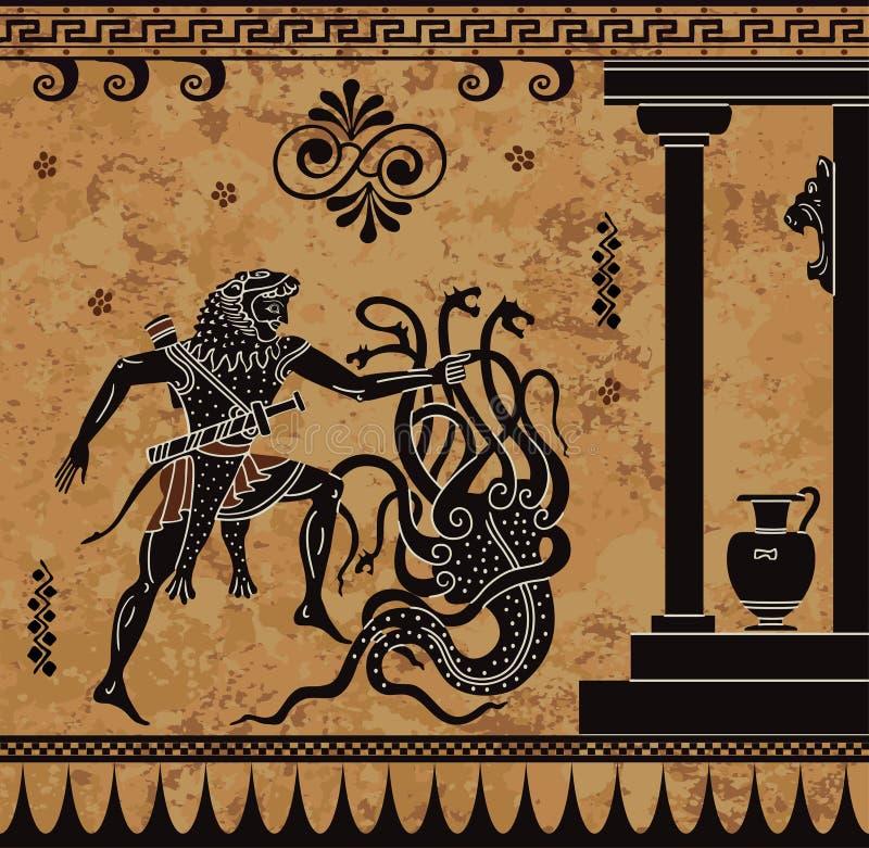 Mito do grego de Anciet Figura preta cerâmica Ação heroico de Hercules ilustração stock