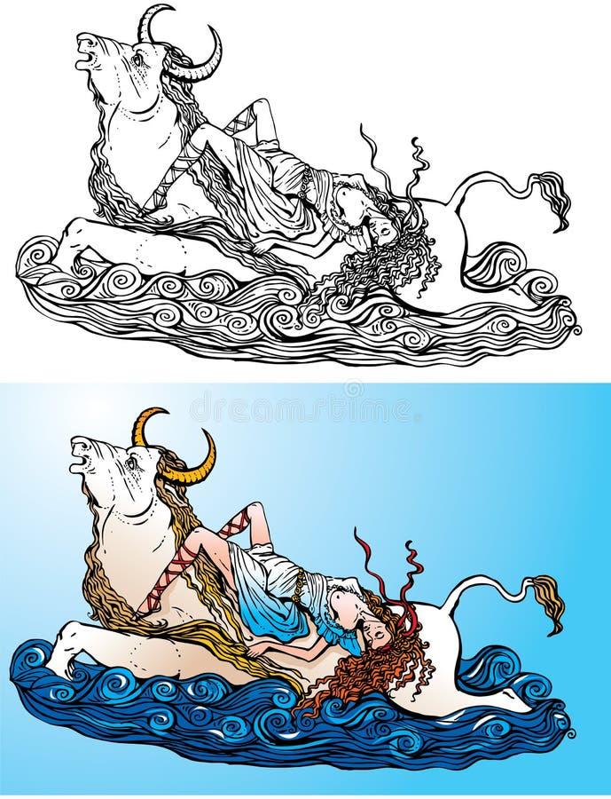 Mito griego: La abducción del Europa de Zeus stock de ilustración