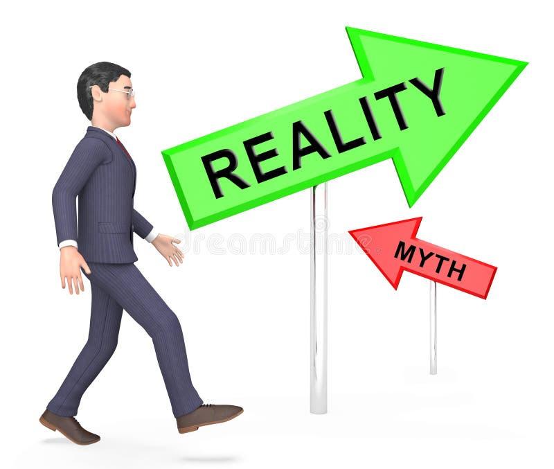 Mito Vs Realidade Comercial Demonstrando Autenticidade versus Fatos Falsos - Ilustração 3d ilustração royalty free