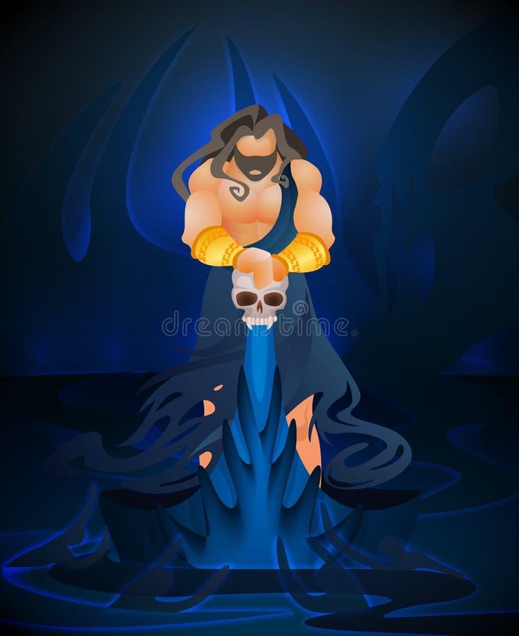 Mitologia de grego clássico lisa do deus da morte do vetor ilustração royalty free