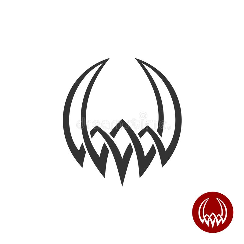 Mitologia que tece o símbolo abstrato da tatuagem Forma redonda com chifres ilustração do vetor