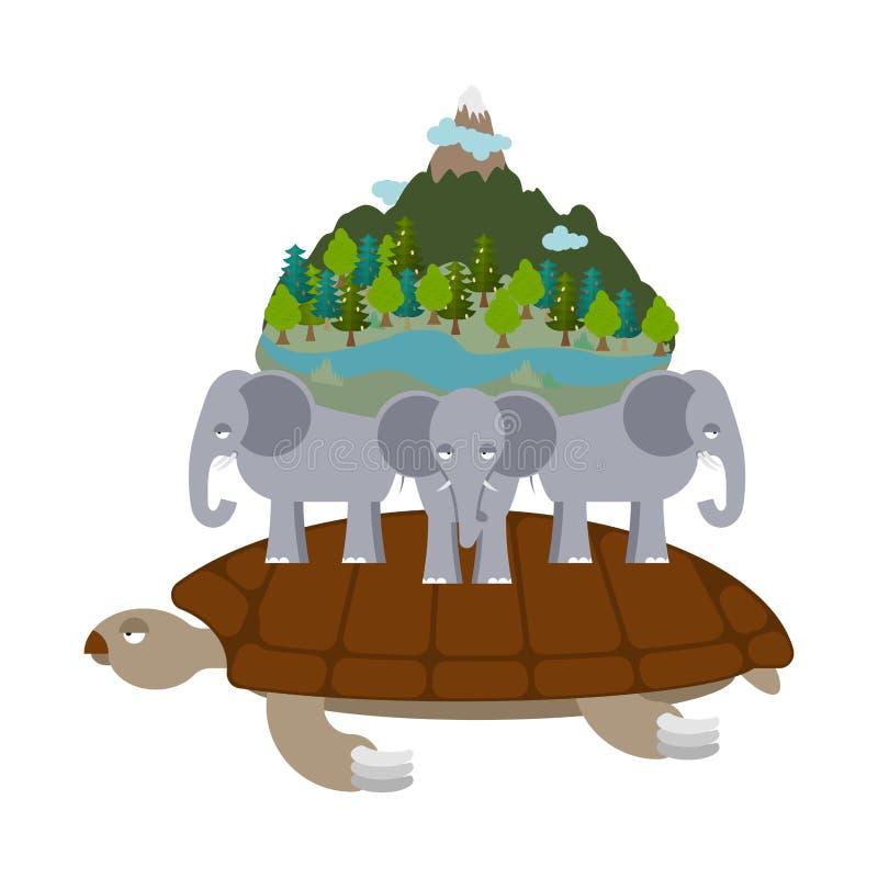 Mitologiczna planety ziemia żółwia przewożenia słonie Antyczny ponowny royalty ilustracja