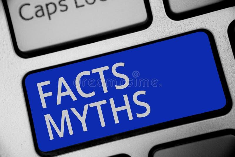 Mitos de los hechos de la escritura del texto de la escritura Trabajo del significado del concepto basado en la imaginación basta stock de ilustración
