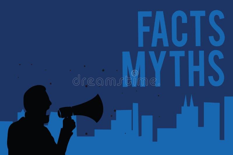 Mitos de los hechos de la escritura del texto de la escritura Trabajo del significado del concepto basado en la imaginación basta ilustración del vector