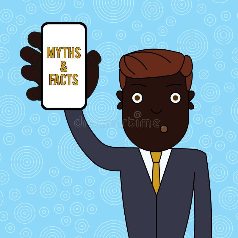 Mitos e fatos do texto da escrita Conceito que significa a história geralmente tradicional da terra arrendada ostensibly históric ilustração royalty free