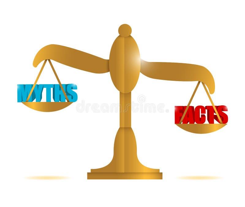 Mitos y ejemplo de la balanza de los hechos libre illustration