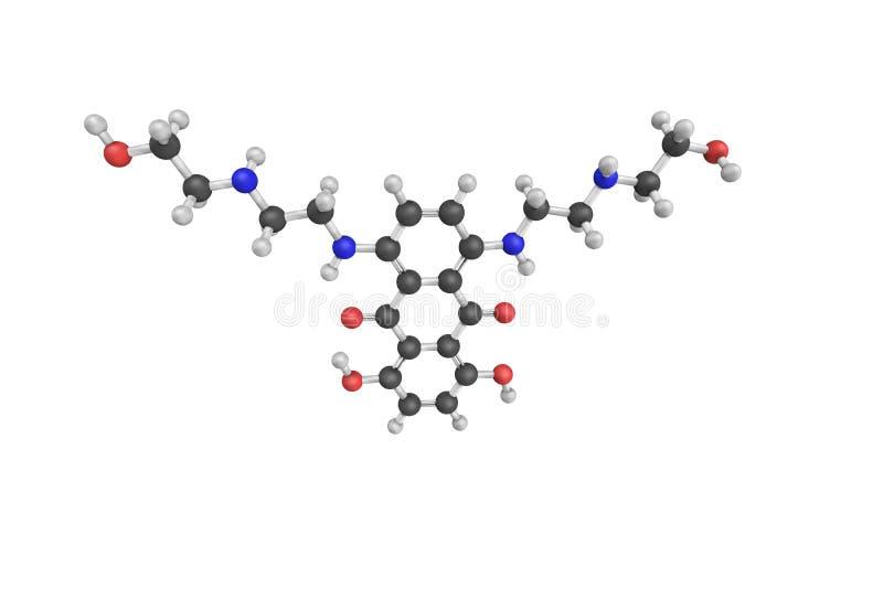 Mitoxantrone, ein anthracenedione antineoplastisches Mittel Baumuster 3d stockfotografie