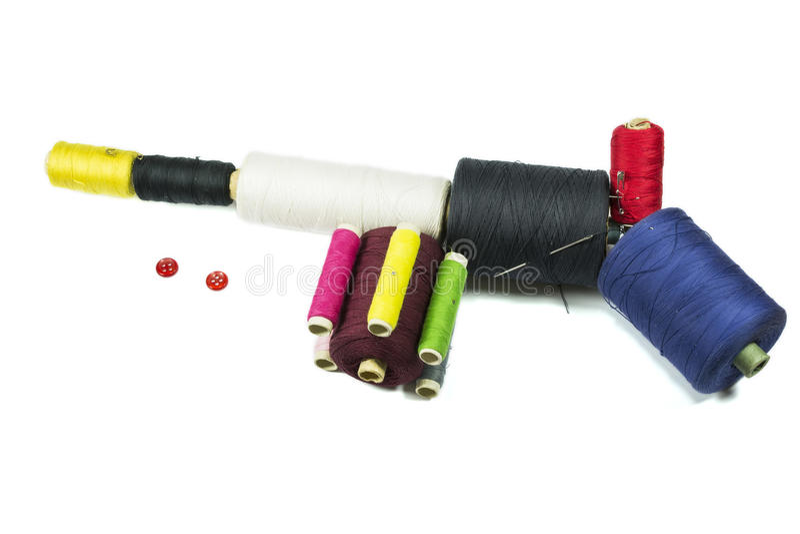 Mitragliatrice con i bottoni di cucito fotografia stock