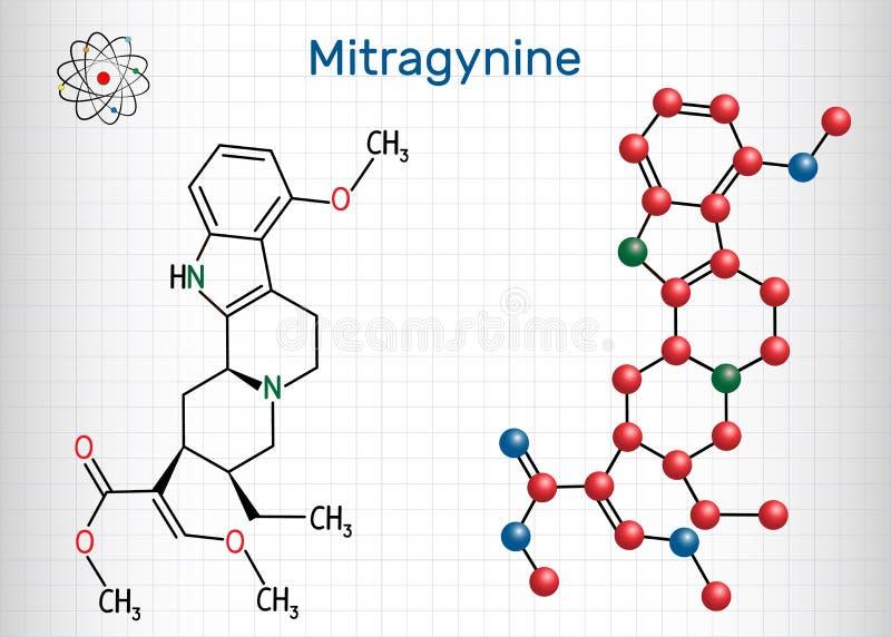 Mitragynine分子 这是与植物Mitragyna speciosa导致的象鸦片制剂的物产的草本生物碱Korth,kratom 皇族释放例证