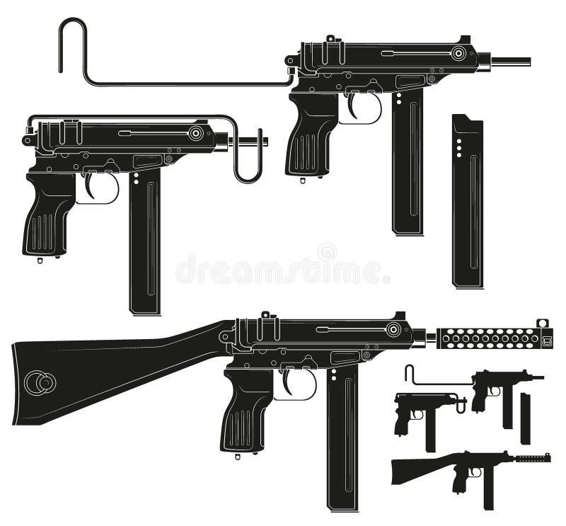 Mitraillette graphique de silhouette avec l'agrafe de munitions illustration libre de droits