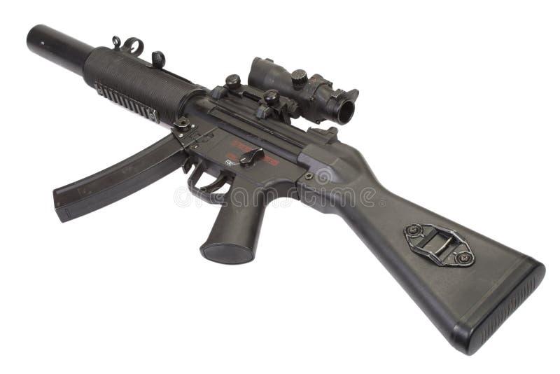 Mitraillette MP5 avec le silencieux photographie stock