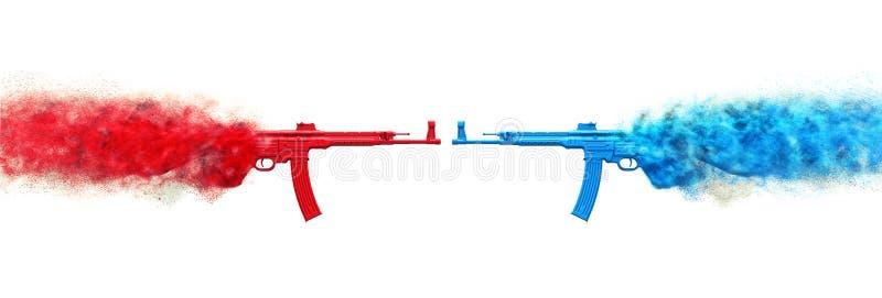 Mitrailleuses d'assaut - rouges contre bleu illustration libre de droits