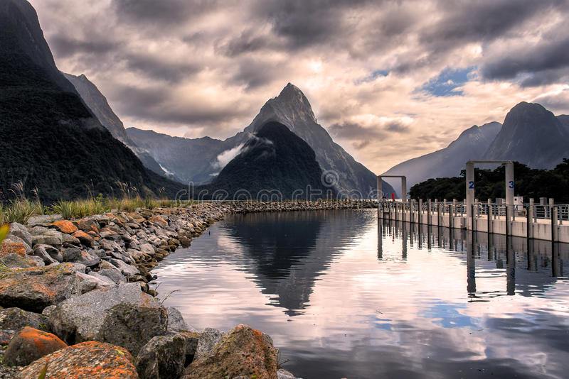 Mitre peak in Milford sound. In dramatic weather ,south island , New Zealand royalty free stock photos