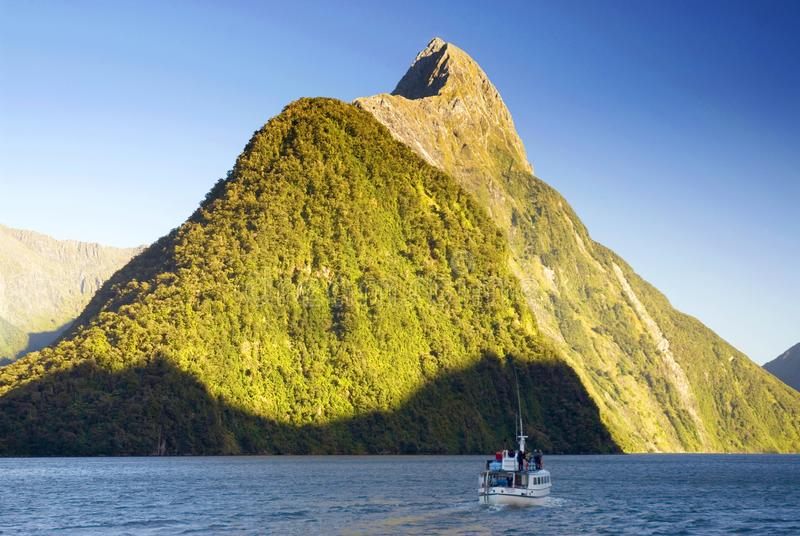 Mitre Peak in Milford Sound, New Zealand. stock photography