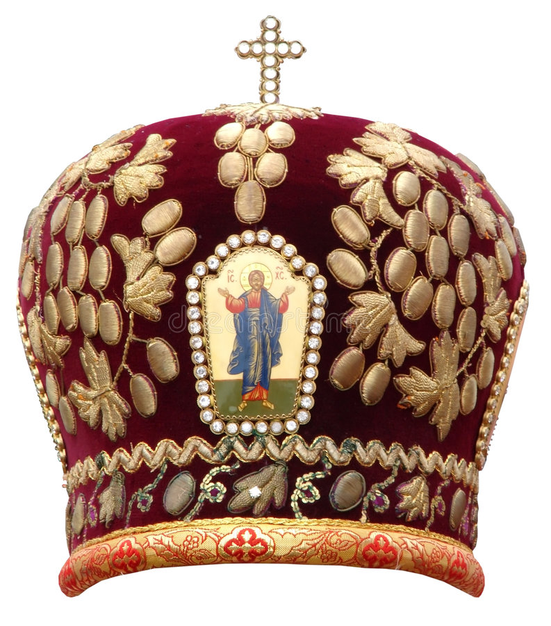 Mitre rouge - couvre-chef solennel du bisho orthodoxe photographie stock