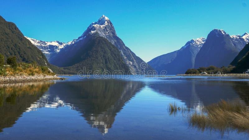 Mitremaximum reflekterat i det lugna vattnet av Milford Sound arkivbild
