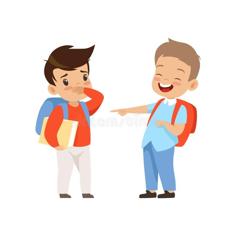 Mitschüler, der auf Jungen, schlechtes Verhalten, Konflikt zwischen Kinder, Gespött und Vektor in der Schule einschüchtern verspo lizenzfreie abbildung