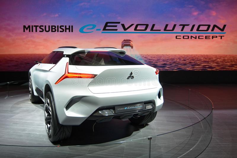 88th Geneva International Motor Show 2018 - MITSUBISHI e-EVOLUTION CONCEPT. The MITSUBISHI e-EVOLUTION CONCEPT is a technical prototype to illustrate the stock image