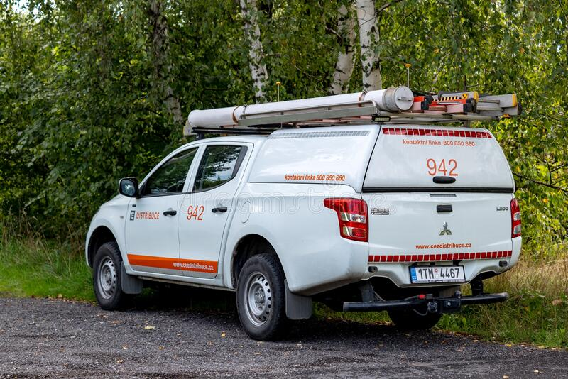 Mitsubishi L200 pickup emergency car of CEZ Distribuce company which takes care of Czech electric distribution system stock images