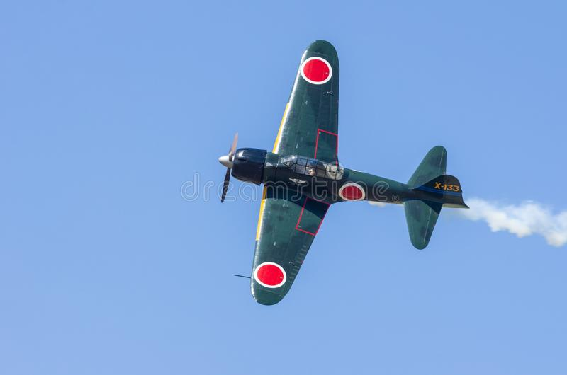 Mitsubishi A6M Zero samolot w locie obrazy royalty free